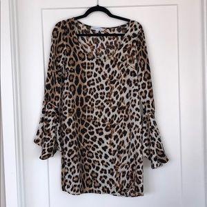 Leopard bell sleeve Mini dress